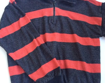 Abercrombie & Fitch Red and Black Vintage Quarter Zip Sweater (1990s) - Large