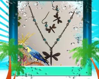 Vintaj Brass Dragonfly Necklace & Earrings