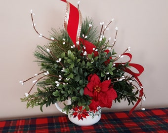 Christmas Mug with Faux Greenery Berries Poinsettia Table Arrangement Totally Today China Holiday Mantel Display Hostess Gift free Shipping