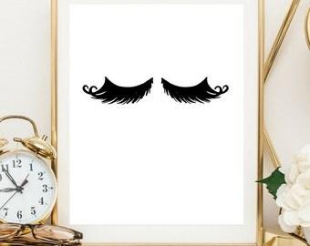 lashes print, eyelashes printable, lashes digital print,  OFF, lashes printable, lashes wall art