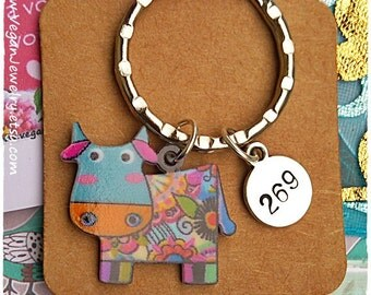 Vegan Keychain, Vegan Christmas gift, 269 Vegan, vegan gift, Cow Keychain, Animal rights, vegan accessory, 269 Pendant, necklace, earrings
