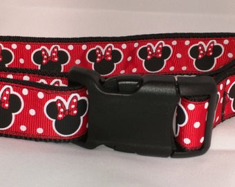 Minnie Mouse Dog Collar -  Red or Purple FREE Shipping