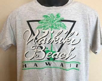 80s Waikiki Beach Hawaii Shirt Vintage Tee Oahu Maui Duke Outrigger Aloha Palm Tree North Shore Pipeline Diamond Head Big Wave Surf Mai Tai