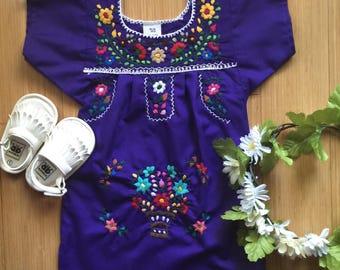 girls mexican dress - vintage pom pom trim - kids embroidered mexican dress - custom baby mexican dress - infant mexican dress