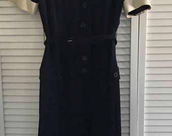 Vintage 1940's-1950's Original Franklin of Chicago Navy Blue Wiggle Dress.