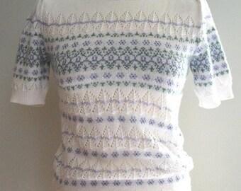 Vintage floral knit top