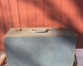 Vintage blue hard shell suitcase, vintage luggage, photo prop, retro luggage, blue, vintage, suitcase, retro home decor, vintage decor,