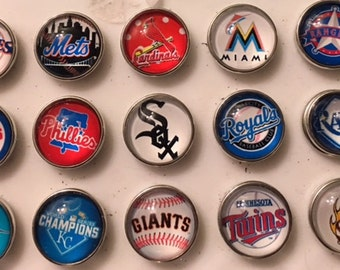 Variety of Baseball Team 18mm Interchangeable Snaps - Fits all your 18mm Snap Jewelry - I can Get Any Team You Want!