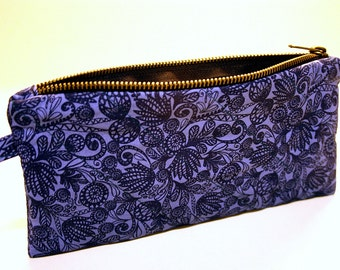 Purse Zippered Dark Blue Floral with strap
