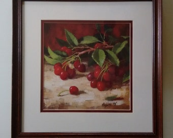 Cherries Still-Life print   Framed and double matted   Sawyer  '93