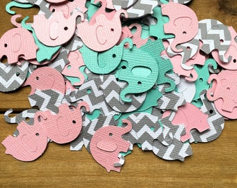 Pink and Teal Elephant Confetti, Grey Elephant, Baby Shower Confetti, It's a Girl, elephant decoration, elephant baby shower, grey chevron