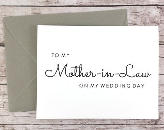 To My Mother-in-Law On My Wedding Day Card, Mother Card, Wedding Day Card, Mother of the Bride, Mother of the Groom  - (FPS0016)