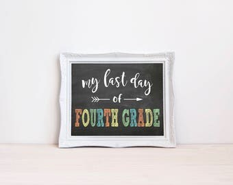 "Last Day Of Fourth Grade Chalkboard Sign || 8""x10"" DIGITAL DOWNLOAD Last Day Of School Chalkboard Printable || Fourth Grade Chalkboard Sign"