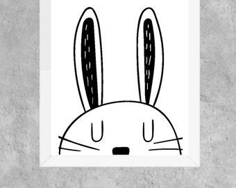 rabbit, monochrome, playroom, kids wall art, nursery, black & white, animal, scandi, instant download, digital, print