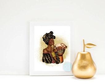 PRINTABLE ART African Art African American Wall Art African Woman Woman Silhouette Printable Art Black Woman Print African Decor Black Woman