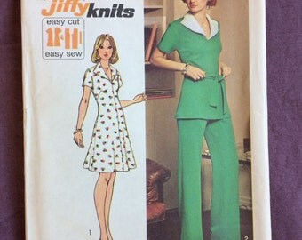 Womens Knit Short Dress or Top and Pants Vintage 1970s Simplicity 6326 Jiffy Sewing Pattern Size 12 Bust 34 UNCUT and Factory-folded
