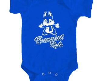 Easter baby bodysuit, Bunnies Rule onesie, Easter onesie, Bunny baby onesie Infant Bodysuit Rabbit Skins 4400 for your baby boy or baby girl