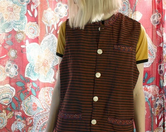 Vintage Striped Red and Black Floral Embroidered Indian Waistcoat Vest - Medium