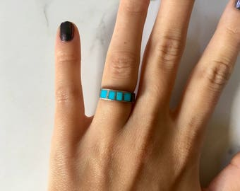 Vintage Sterling Silver + Turquoise Inlay Ring size 4.5