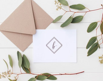 Modern Stationery | Minimalist Thank You Cards | Custom Initial Note Cards | Notecards | Geometric Stationery | Script Calligraphy Initial