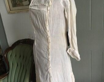 1900's 1910's Edwardian white cotton dress