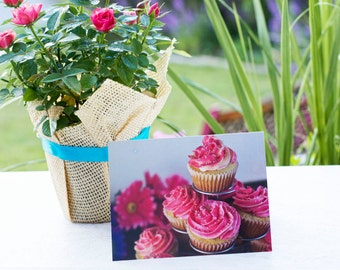 """Birthday Cards/ Photography Greeting Cards/ Recipe Card / Blank Thank You Cards - Pink Vanilla Cupcake Cards Landscape 4 1/4 x 5 1/2"""""""