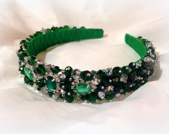 Emerald Crystal Headband Bridal Crown Green Crystal Crown Bridal Hair Piece Crystal Headband Crystal Tiara Bridal Headpiece Pearl Headband