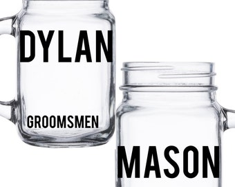 2 GROOMSMEN Gift, Mason Jar Cup, Personalized Mason Jar, Best Man Gift, Personalized Groomsmen Mugs, Personalized Groom Gift
