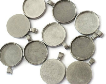 Piece of Tin round pendant for making jewelry LoB-108-25 (10 pieces)