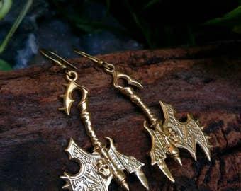 Gothic Drop Earrings, Hanging earrings, Tribal design, sword model, Boho Earrings. Gypsy Earrings. Ethnic Earrings. Handmade Jewelry.