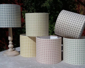 DIAMOND DOT - Handmade 20cmDrum Lampshade in designer Lewis & Wood Fabric (Limited Stock)