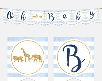 Gold Safari Baby Shower Banner, Oh Baby Banner,  Printable, Light Blue and Navy, Gold Glitters, Safari Baby Shower, Boy, 042