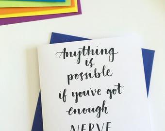 Handwritten Motivational/Good Luck Card