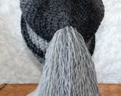 Slouchy beanie fringe  grey crochet hat knit beanie grey beanie skye hat hat grunge hat bohemian style boho hat KasiaSkye