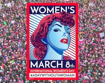 Women's March. Woman. International women's day. Poster. Wall art print. Gift. Girl Power. Revolution. Feminism. Feminist