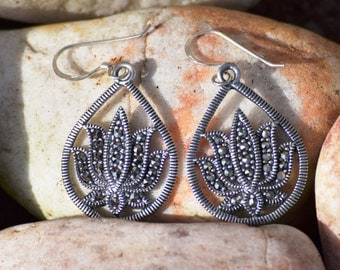 Sterling Silver Lotus Earrings with Marcasite