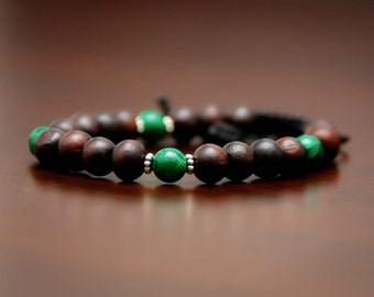 Rosewood, Malachite, Turquoise Beaded Bracelet // Buddhist Bracelet // Yoga Bracelet // Mala Bracelet // Women's Bracelet