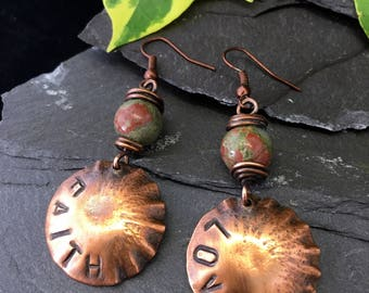 LOVE FAITH / stamped /hammered earrings / copper dome dangle earrings / copper jewellery /hand crafted copper earrings /unakite / gift box /