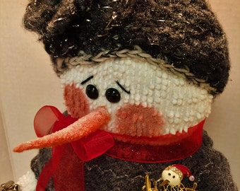 """Handcrafted Snowman, Vintage Chenille Snowman, """"Pearl"""""""