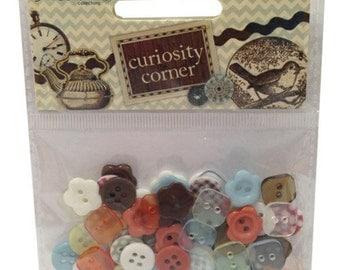 Curiosity Corner 80 plastic buttons - Dovecraft - DCBN009