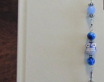 Beaded Bookmark, Bookmark, Stretchy Bookmark, Bookmark Bracelet, Light Blue Owl Stretchy Beaded Bookmark