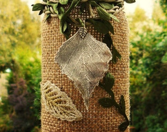 Handmade lantern / Hessian Leaf candle lantern woodland night light fairy jar / magic forest / fairy light