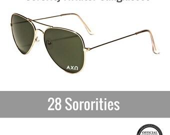 Sorority Sunglasses . Aviator Style . White Sorority Decal
