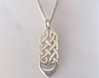 Celtic Knotwork Drop Pendant - Sterling Silver Celtic Pendant Necklace