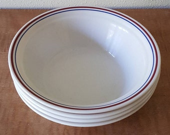Corelle Abundance Cereal Bowls~ Set of 4 Cereal, Salad or Soup Size Bowls~Red and Blue Edging~Corelle glass Made in the USA.