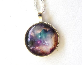 Pink White Blue Purple Pink Galaxy Space Star Geek Astronomy Pendant