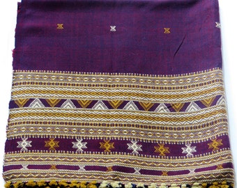 Purple Gujarati hand-loomed shawl, blanket, scarf, wrap with hand embroidery