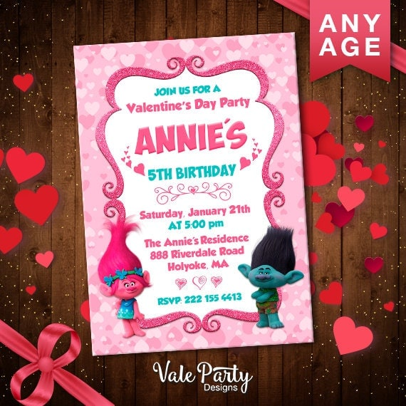 Trolls Printable Valentine's Party Invitations