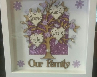 Family tree box frames. All names personalised. Come in a wide variety of background colours and styles. box frames black or white.