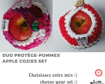 Apple cozy Handmade Crochet - apple cosy - Lunch bag buddy- Set of 2 - Choose your color